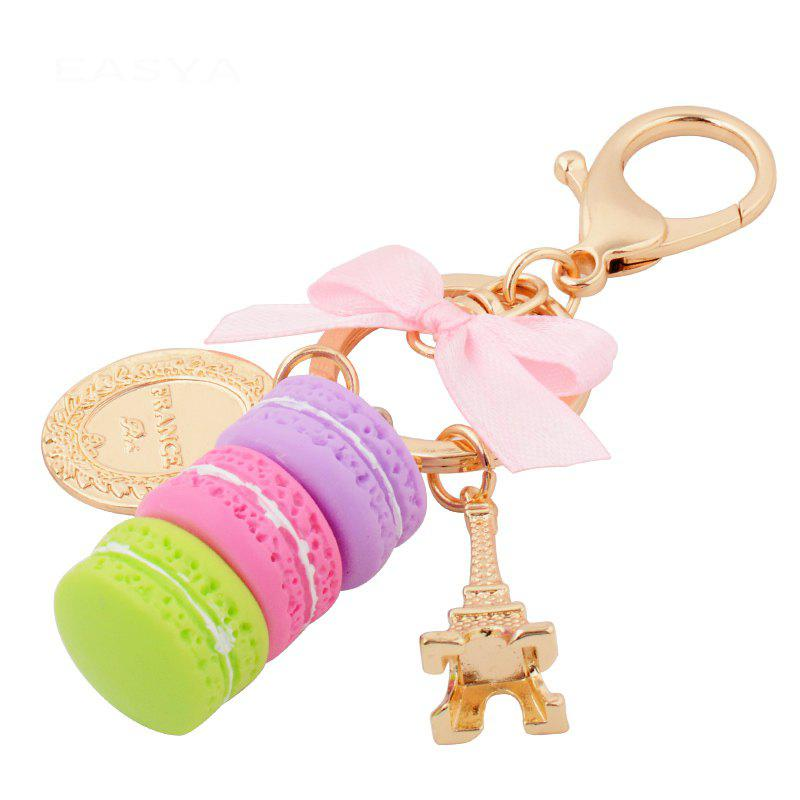 Outfit Macaron Cake Eiffel Tower Keychain Bowknot Car Keyring Bag Purse Pendant