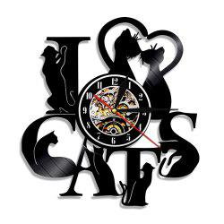 Horloge murale en vinyle Art Home Decal Vintage Cat série -