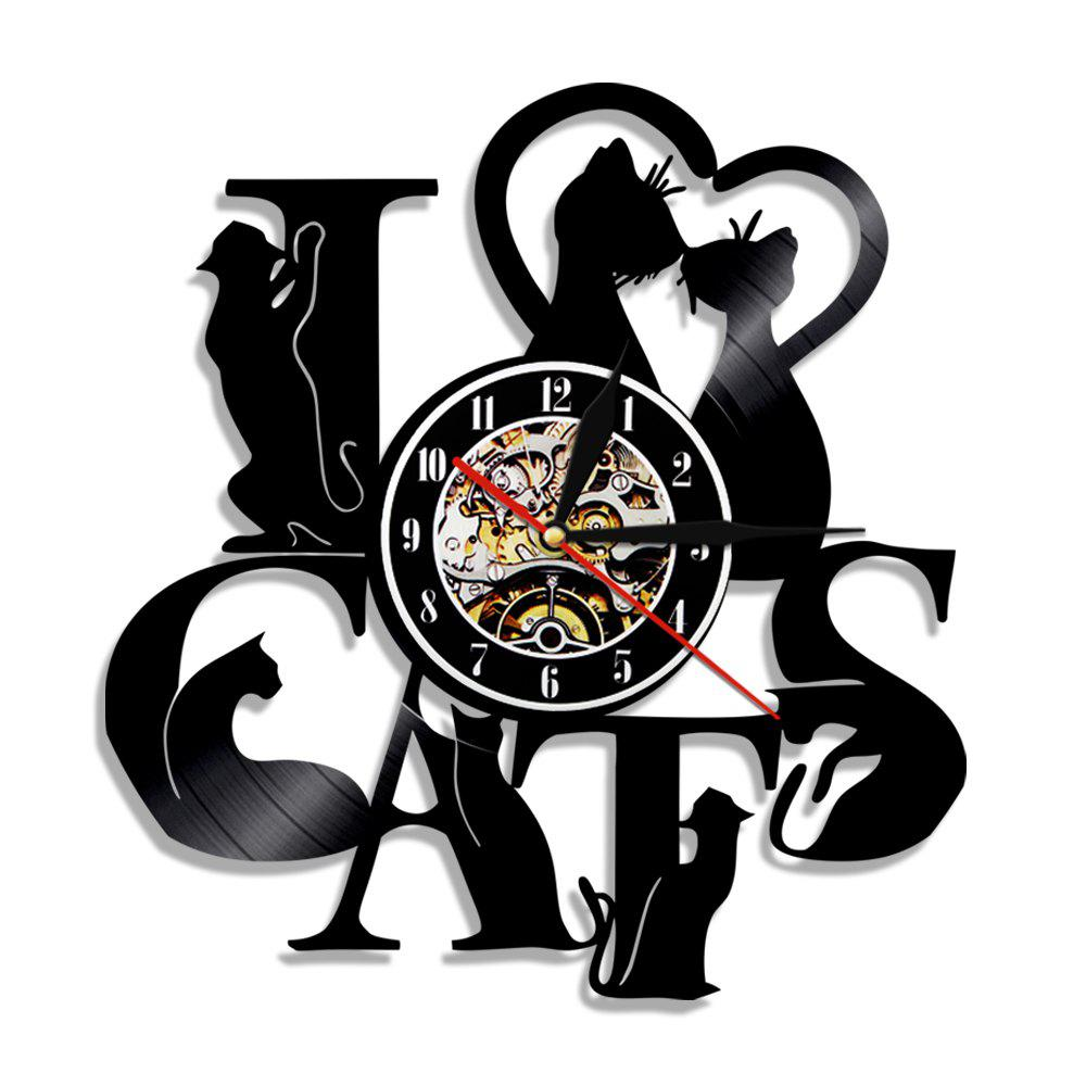 Horloge murale en vinyle Art Home Decal Vintage Cat série