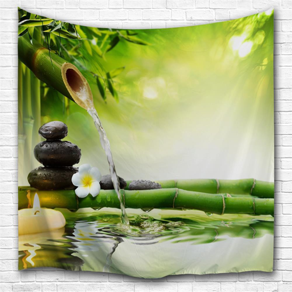 Fashion Zen Water Bamboo 3D Printing Home Wall Hanging Tapestry for Decoration