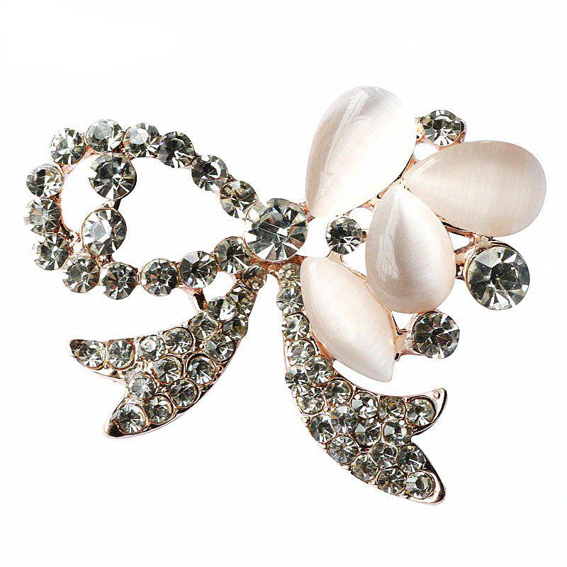 Chic PULATU Diamond Peephole Bow Brooch for Women B1L7-8