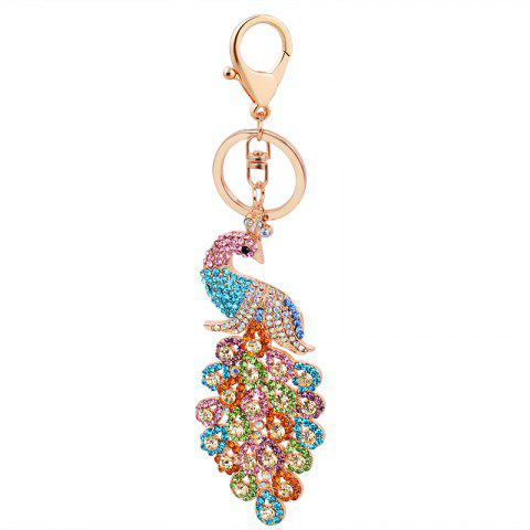 Outfit Peacock Keychain Crystal Handbag Charm for Feather Fans Key Ring