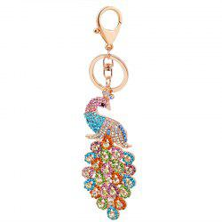 Peacock Keychain Crystal Handbag Charm for Feather Fans Key Ring -