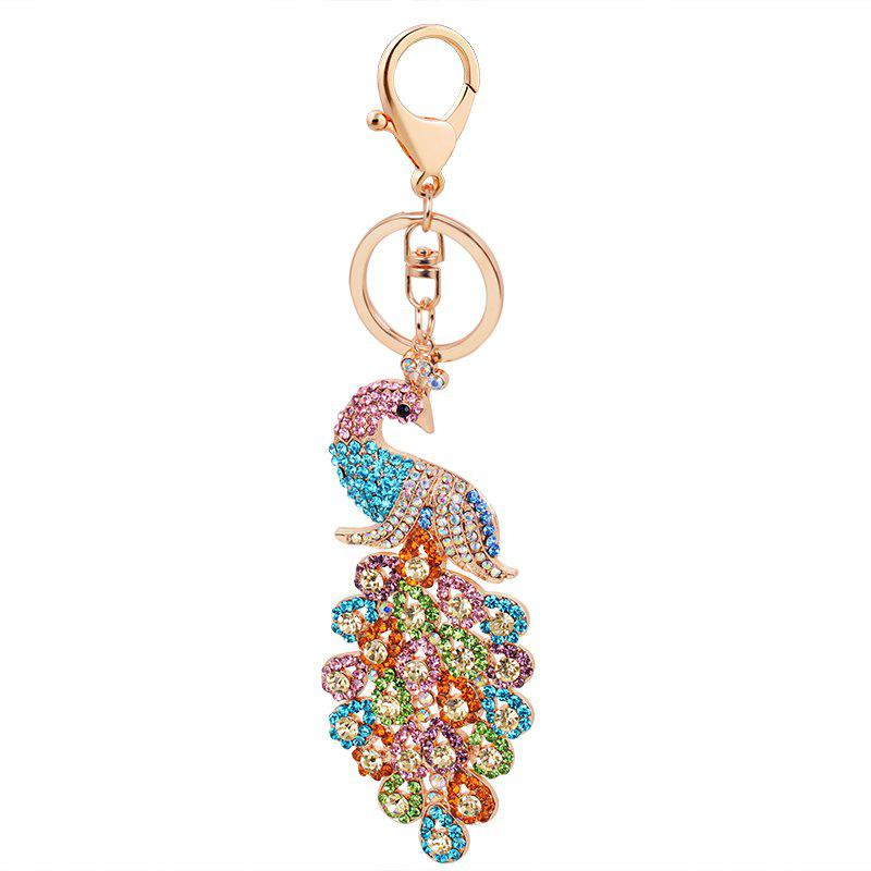 Outfit Peacock Keychain Crystal Handbag Charm for Feather Fans Key Ring ebcef8068