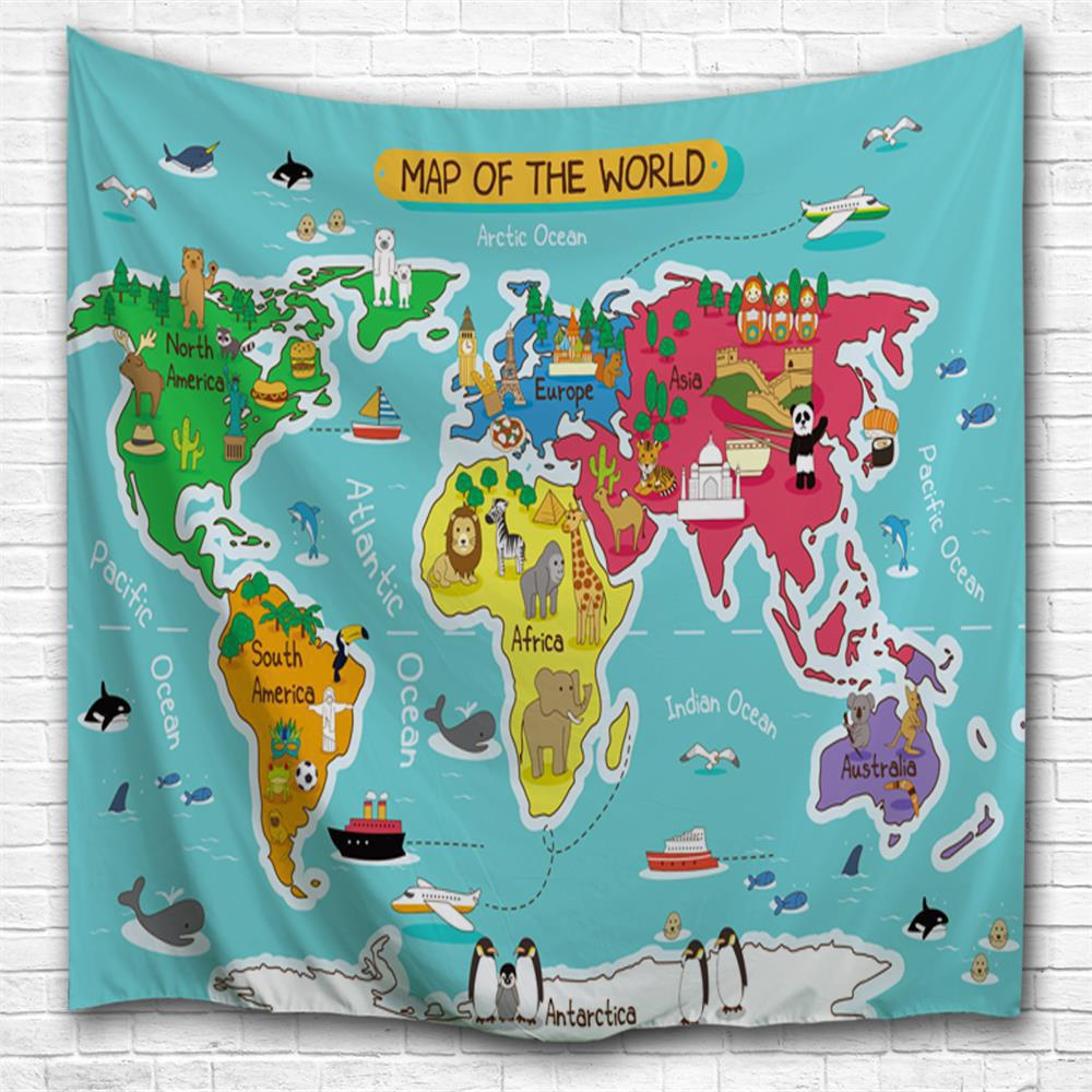 Multi a w200cmxl180cm cartoon world map 3d printing home wall cheap cartoon world map 3d printing home wall hanging tapestry for decoration gumiabroncs Choice Image