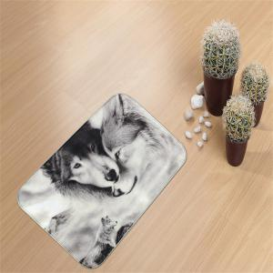Couple Wolves Super Soft Non-Slip Bath Door Mat Machine Washable Quickly Drying -