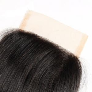 Brazilian Virgin Human Hair Natural Black Straight Swiss Lace Closure Extension -