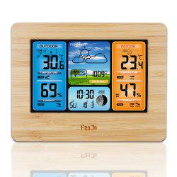 FanJu FJ3373W Digital Weather Station Alarm Clock with Temperature Humidity -