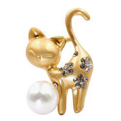 PULATU Diamond Simulate-Pearl Cat Brooch -