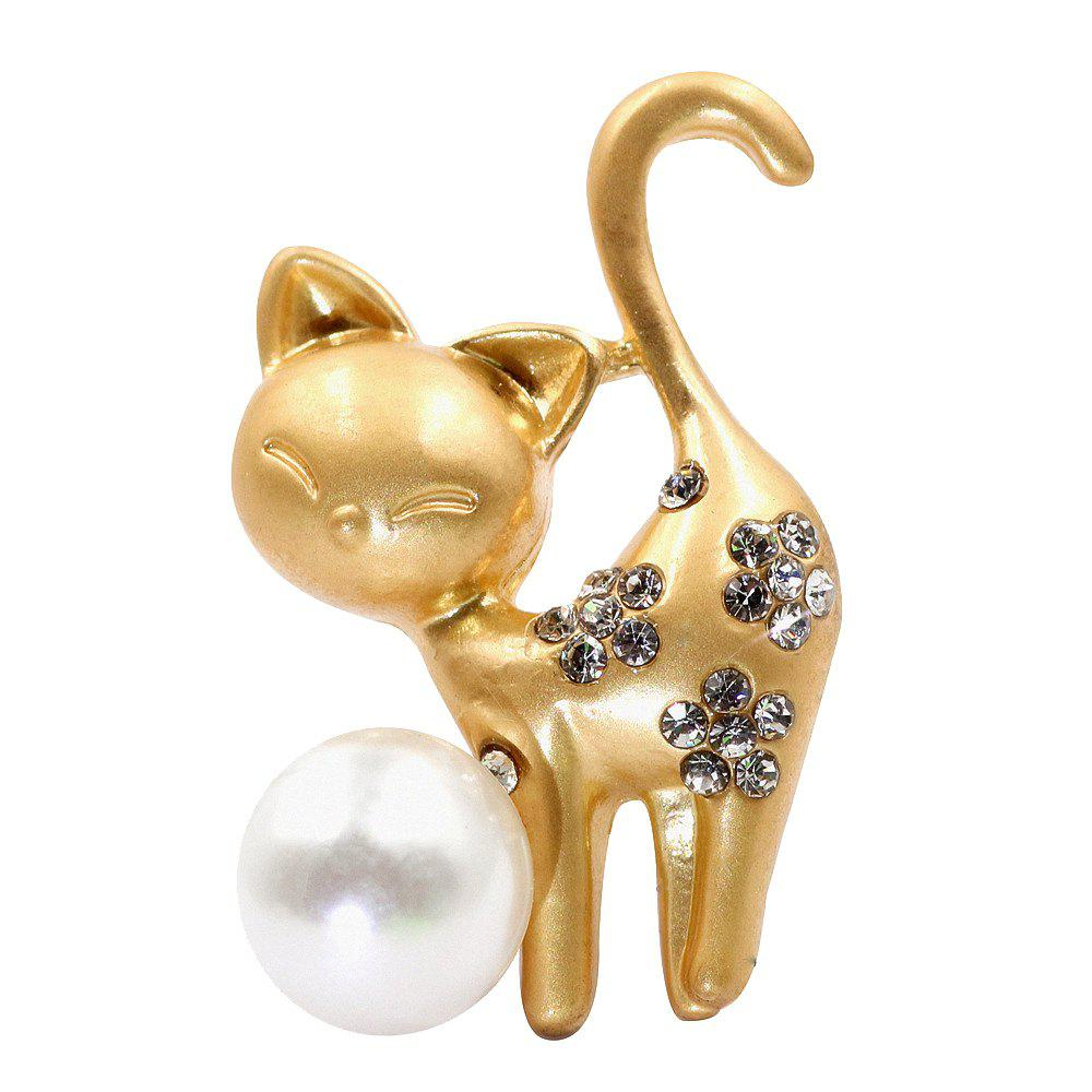 PULATU Diamond Simulate-Pearl Cat Brooch