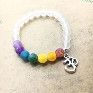 Colorful Weathered Agate Beads Fashion 3D Yoga Matte Transparent Energy Bracelet -