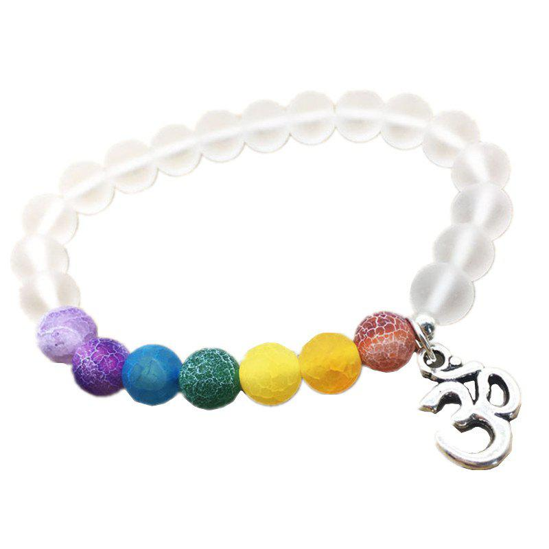 Outfit Colorful Weathered Agate Beads Fashion 3D Yoga Matte Transparent Energy Bracelet