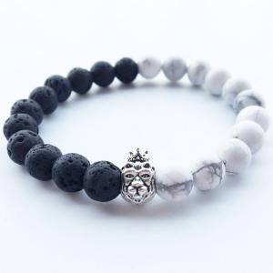 Trendy Black and White Crown Lion's Head and Buddha Beaded Bracelet -