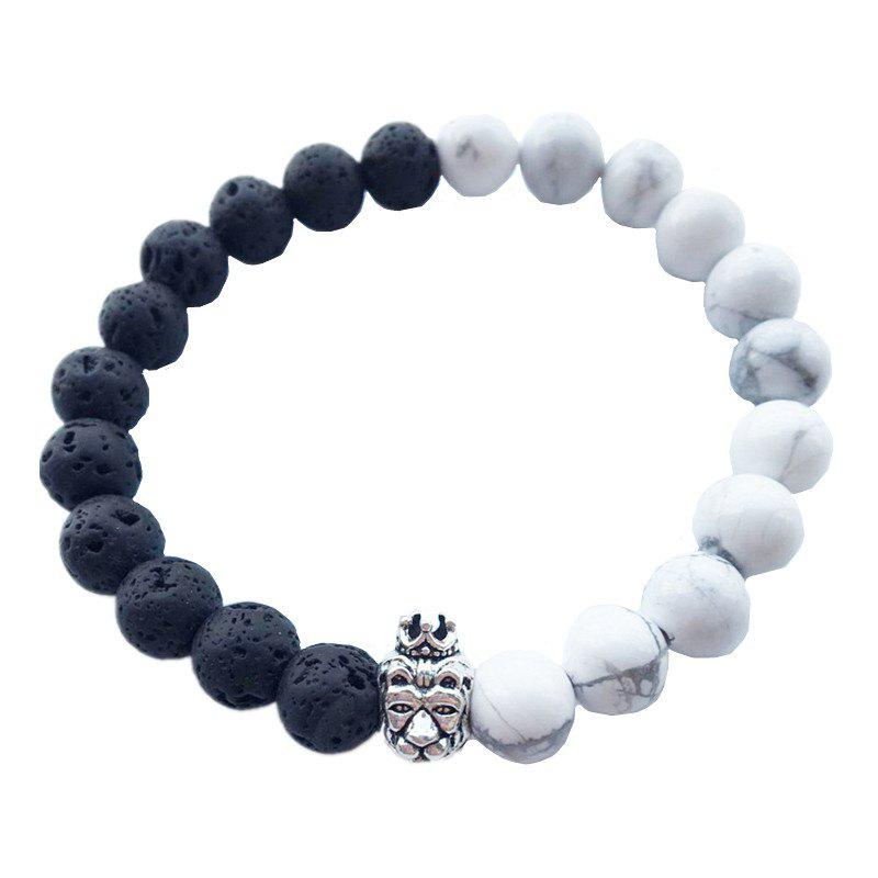 New Trendy Black and White Crown Lion's Head and Buddha Beaded Bracelet
