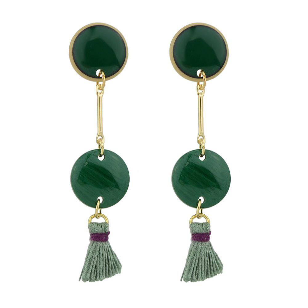 7e0c3507c 2019 Gold-color Chain With Green Stone Tassel Drop Earrings ...
