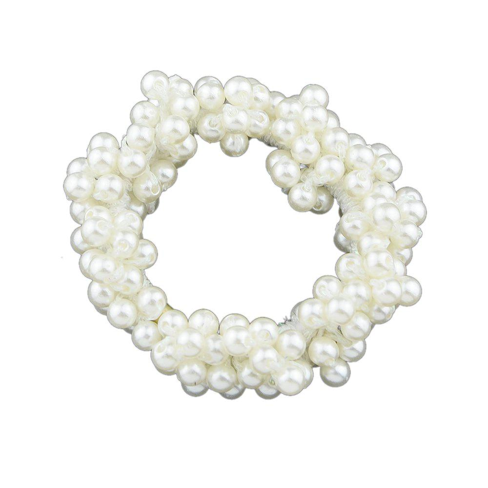 Fancy White Elasticity Beads Hairwear