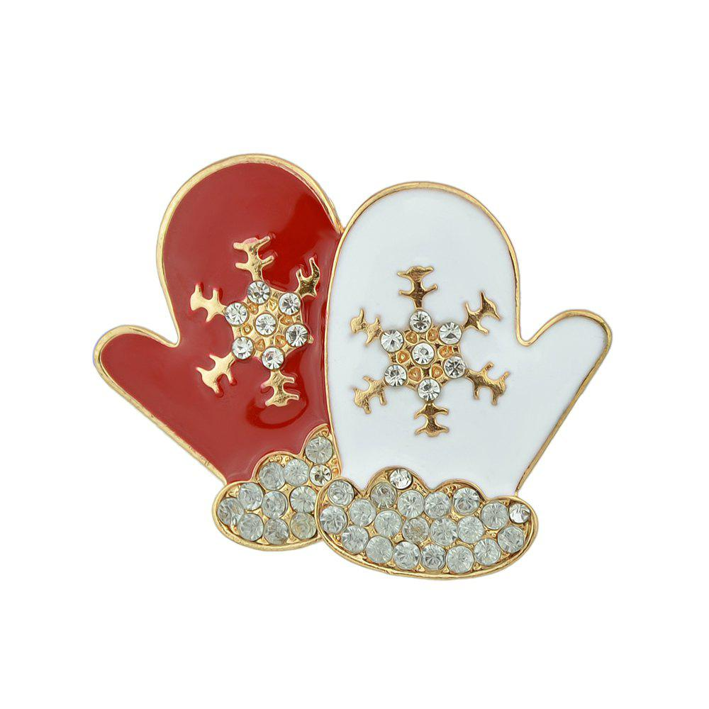 Discount Christmas Jewelry Enamel Rhinestone Snowflake Gloves Brooches