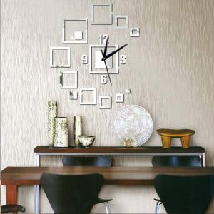 Diy 3D Square Wall Clock Acrylic Stickers Living Room Mordern Decoration -