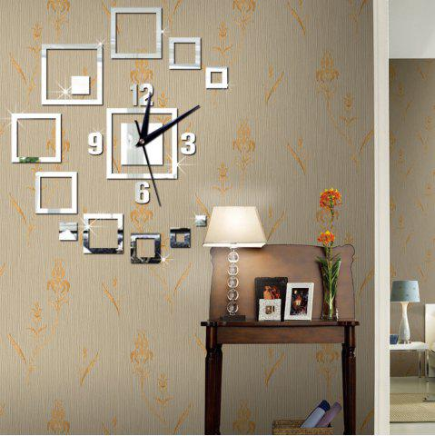 Shops Diy 3D Square Wall Clock Acrylic Stickers Living Room Mordern Decoration