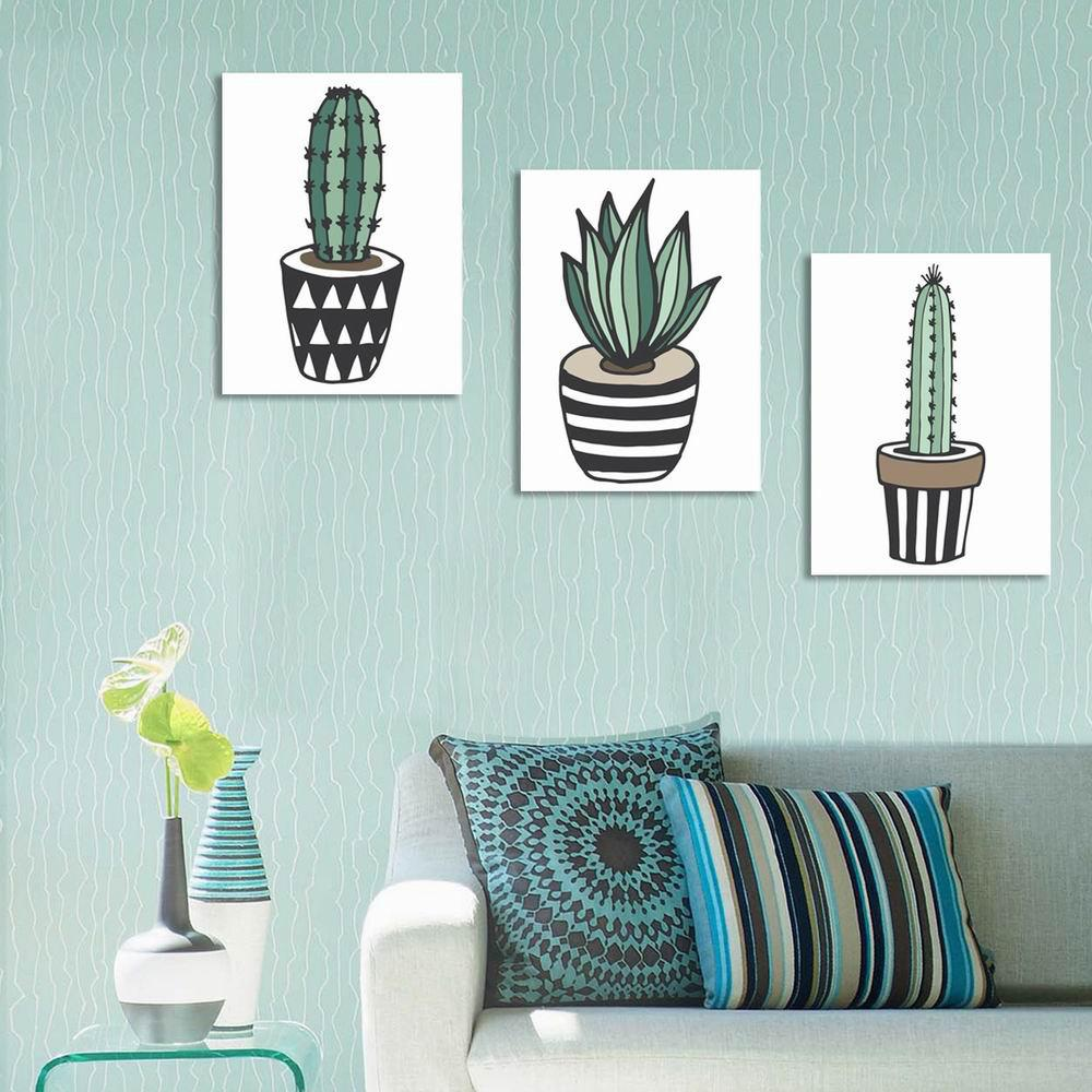 Cheap W241 Cartoon Cactus Unframed Wall Art Canvas Prints for Home Decoration 2PCS