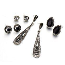 Bohemian Black Diamond Long Zircon 4 Pair Earrings Combination -