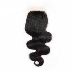 Indian Virgin Human Hair Natural Black Body Wave Swiss Lace Closure -