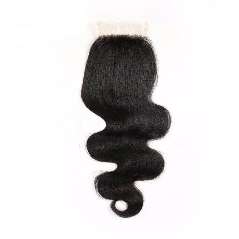 Outfits Indian Virgin Human Hair Natural Black Body Wave Swiss Lace Closure