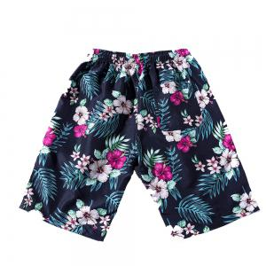 Summer Men's Fast Dry Pants Seaside Holiday Shorts Printed Swimming Beach Pants -