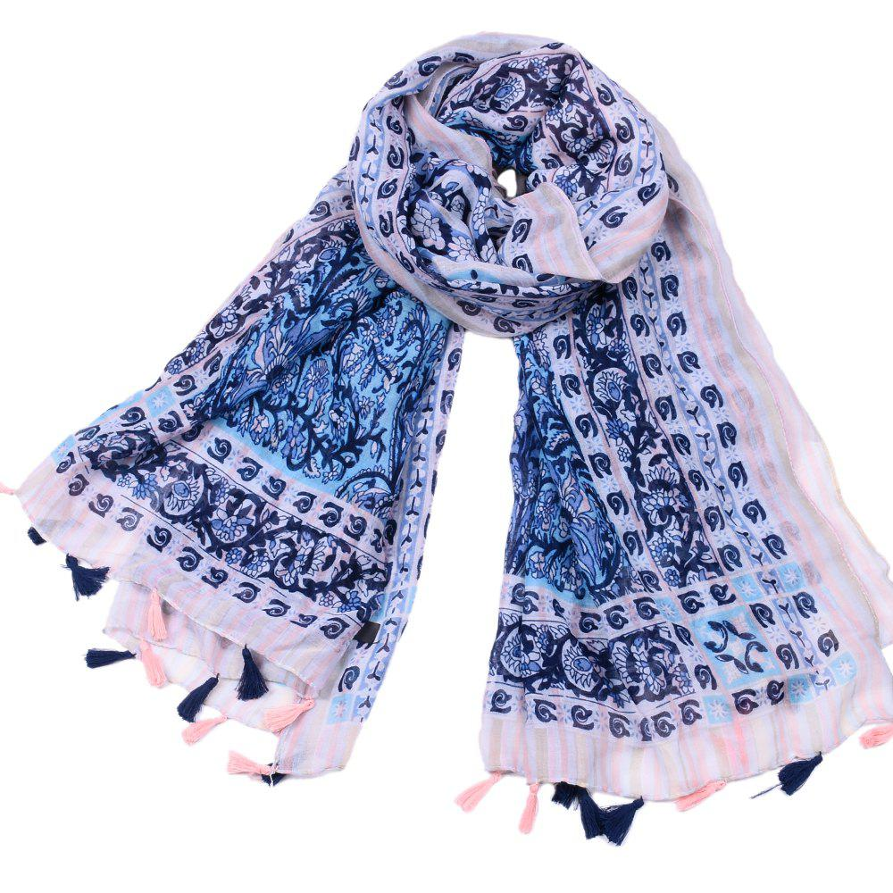 cdf90732e3d Women's New Lace Flower Printed Muffler Viscose Ethnic Scarf