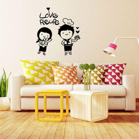 Black 42x45cm Happy Chef Wall Stickers Love Cartoon Couple Kitchen ...