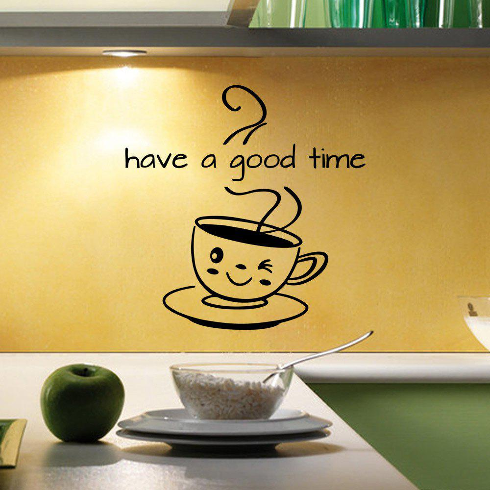 Black 43x32cm Coffee Have A Good Time Vinyl Decor Kitchen Decal ...