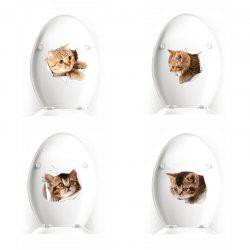 3D Broken Cartoon Pasted Wall Sticker Cat and Dog Waterproof Decoration -