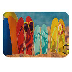 Funny Beach Shoes Super Soft Non-Slip Bath Door Mat Machine Washable -