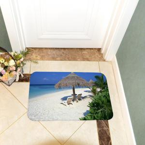 Beach Huts Super Soft Non-Slip Bath Door Mat Machine Washable Quickly Drying -