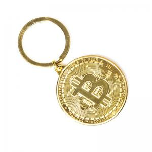 Bitcoin Key Chain Plated Cryptocurrency Gift -