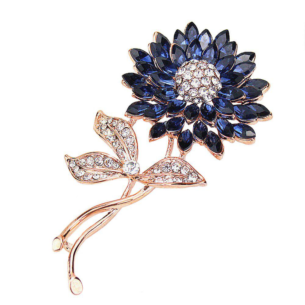 New PULATU Women'S Diamond Gemstone Flower Brooch