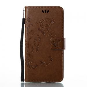 Wkae Flowers Embossing Pattern Pu Leather Flip Stand Case Cover for Huawei Y7 Prime And Y7 -