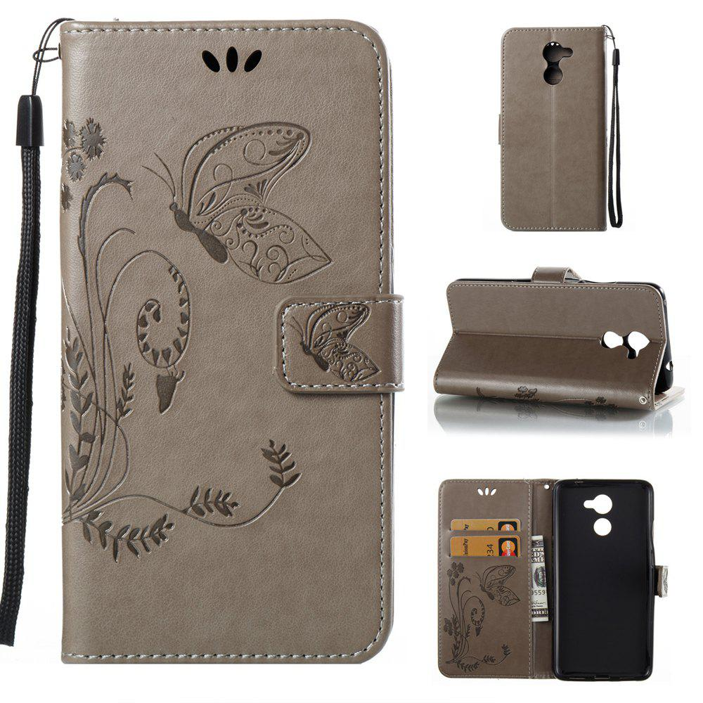Trendy Wkae Flowers Embossing Pattern Pu Leather Flip Stand Case Cover for Huawei Y7 Prime And Y7