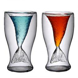 Transparent Mermaid Glass Cup Heat-resistance Cup for Beer and Wine 2PCS -