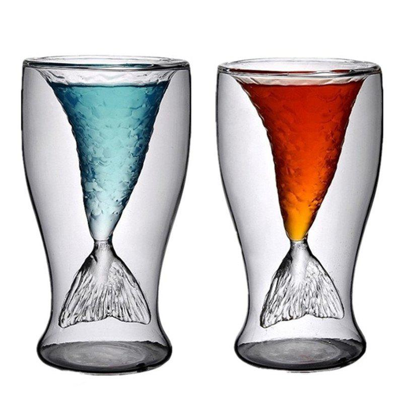 New Transparent Mermaid Glass Cup Heat-resistance Cup for Beer and Wine 2PCS