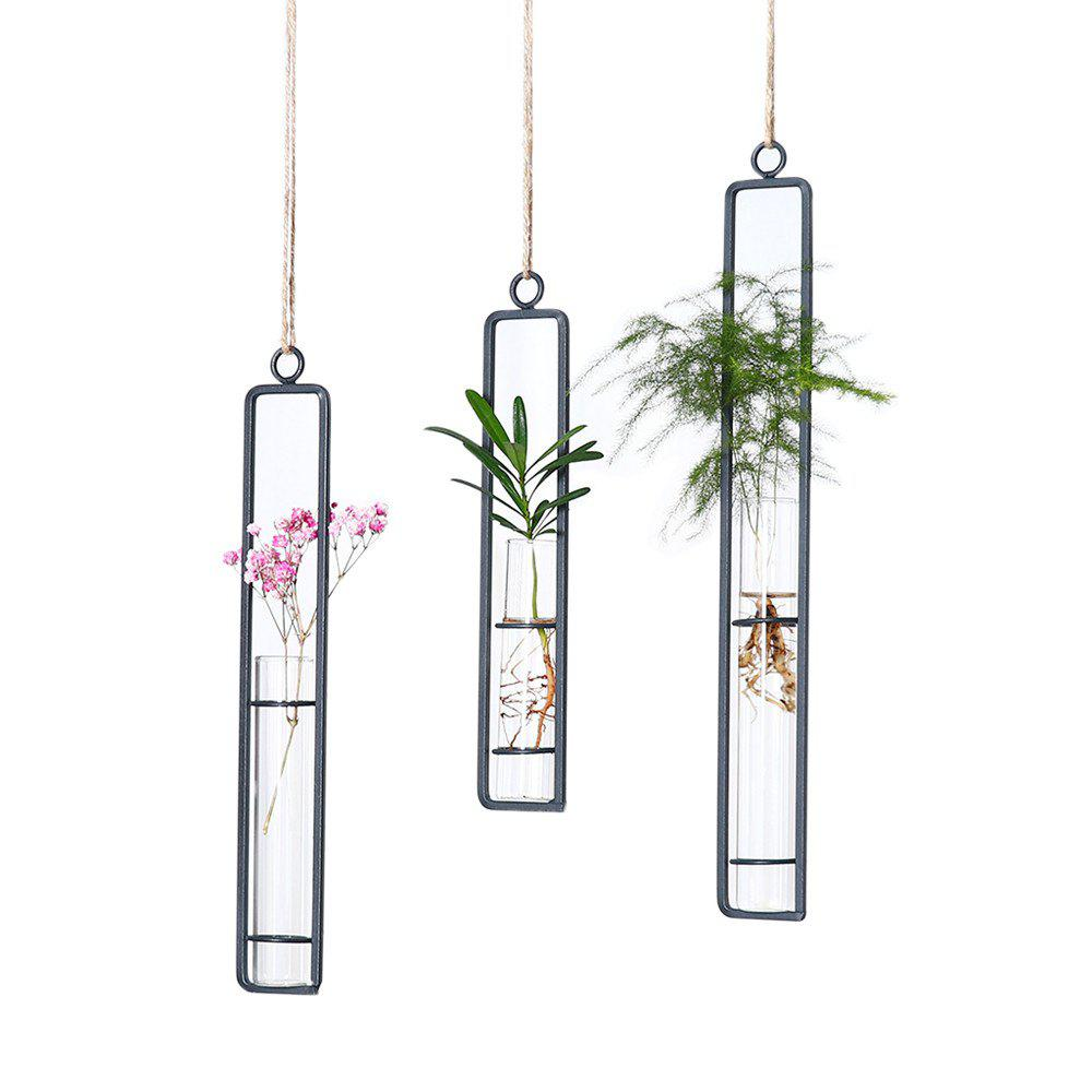 Unique Hydroponic Hanging Long Glass Vase with Iron Frame Potted Plant Container