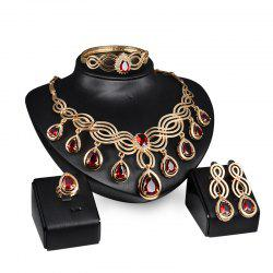 Fashion Women Big Diamond Multi Strand Chunky Evening Jewelry Set -