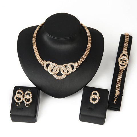 Cheap 18K Gold Plated Bracelet Earrings Present Set-Wedding Prom Necklace Jewelry