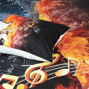 Fire And Water Guitar Bedding Duvet Cover Set Digital Print 3pcs -