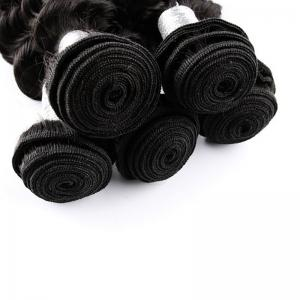 Natural Black Deep Wave Brazilian Virgin Human Hair Weave Extensions Bundles -