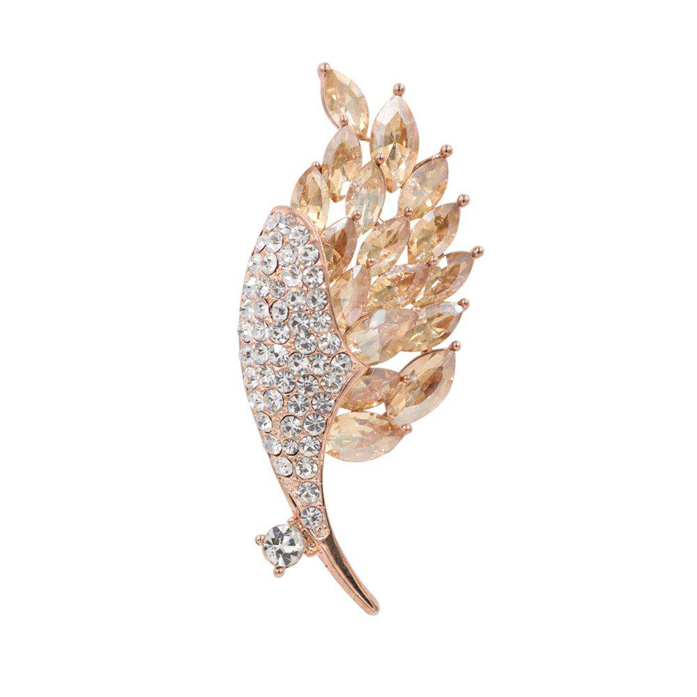 Affordable PULATU Lady Diamond Crystal Leaf Brooch XZ-B1L3-10