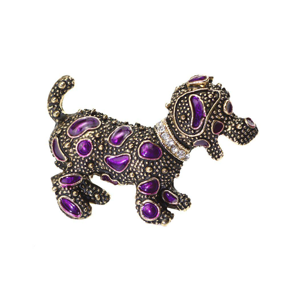 Cheap PULATU Diamond Purple Porcelain Glaze Puppy Brooch XZ-B1L6-10