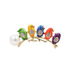 PULATU Simulate-Pearl Diamond Colorful Bird Brooch -
