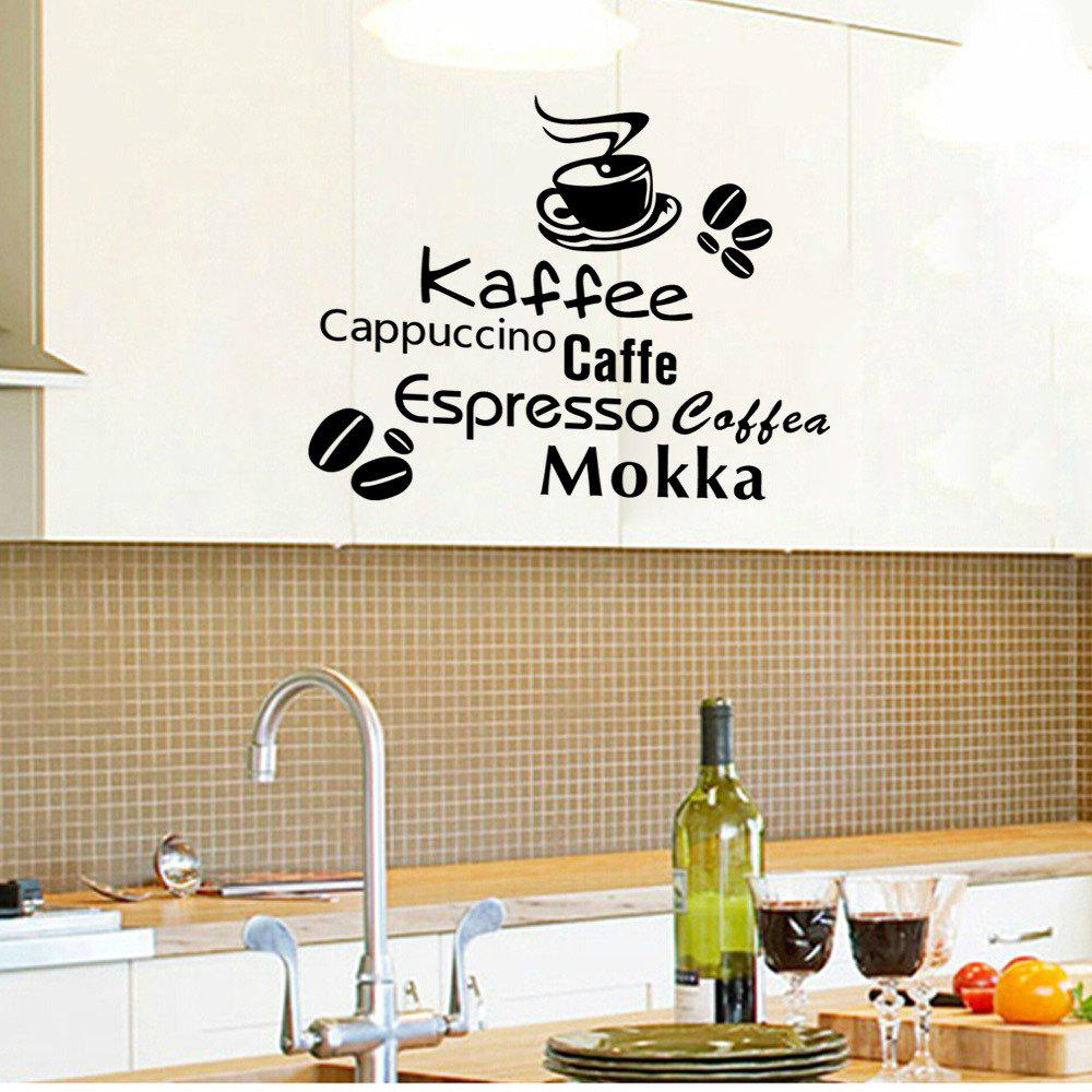 Black 56x30cm Delicious Coffee Vinyl Quote Removable Kitchen Wall ...