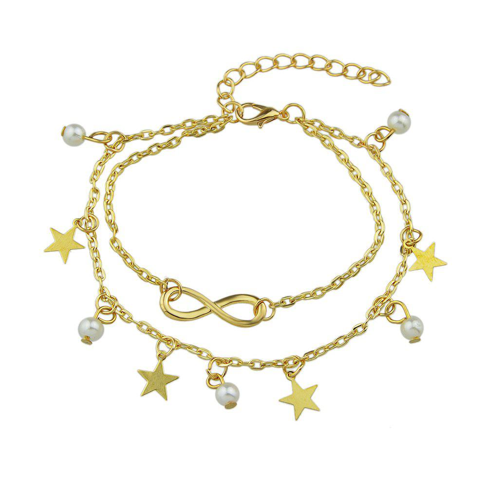 Perles Simulated-perle Star Charm cheville Sandales aux pieds nus